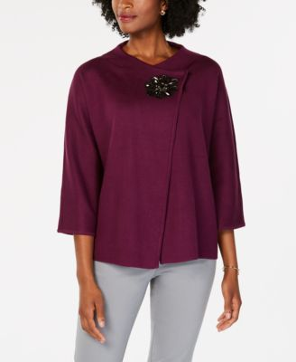 Image of JM Collection Wrap-Front Brooch Blazer, Created for Macy's