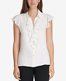 Calvin Klein Ruffled Button-Front Blouse