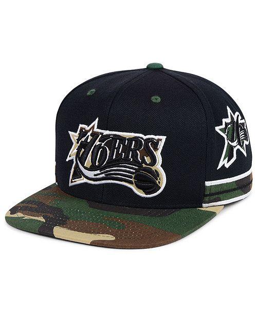 11ed37ef1fb ... Snapback Cap  Mitchell   Ness Philadelphia 76ers Straight Fire Camo  Hook Snapback ...