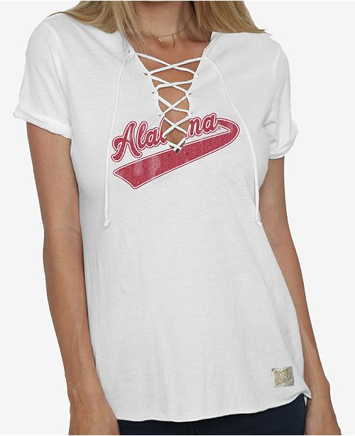 Retro Brand Women's Alabama Crimson Tide Lace Up V-Neck T-Shirt