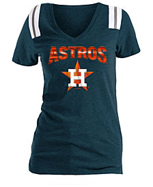 5th & Ocean Women's Houston Astros Shoulder Stripe Foil T-Shirt