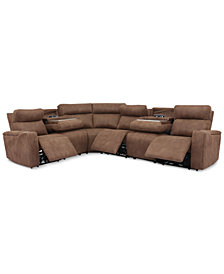 Oaklyn 6-Pc. Fabric Sectional with 3 Power Recliners, Power Headrests, USB Power Outlet & 2 Drop Down Tables