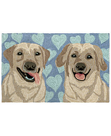 "Liora Manne Front Porch Indoor/Outdoor Puppy Love Blue 2'6"" x 4' Area Rug"