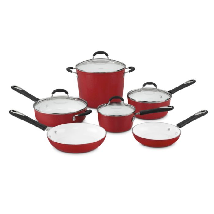 Cuisinart Cuisinart Elements Non-Stick 10 Piece Cookware Set, Red, Size: 10 PIECES