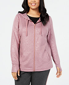 Ideology Plus Size Metallic Zip Hoodie, Created for Macy's