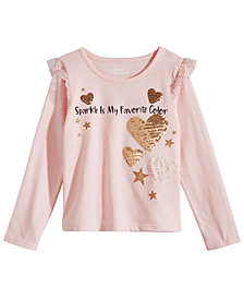 Epic Threads Little Girls Sparkle-Print Ruffled T-Shirt, Created for Macy's