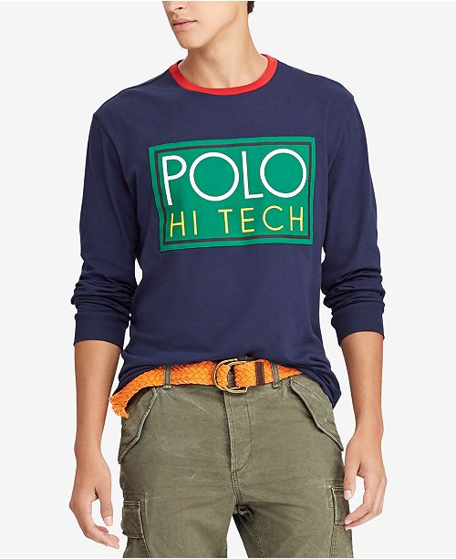 7e5b1204 Polo Ralph Lauren Men's Hi Tech Logo Graphic Long-Sleeve T-Shirt ...
