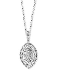 """EFFY® Diamond Marquise Cluster 18"""" Pendant Necklace (3/4 ct. t.w.) in 14k White Gold"""