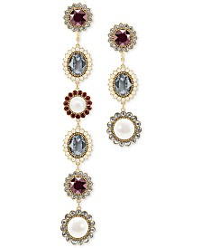 Swarovski Gold-Tone Imitation Pearl, Crystal & Stone Asymmetrical Detachable Earrings
