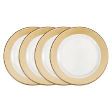 Q Squared Moonbeam Ring Gold Melamine 4-Pc. Dinner Plate Set
