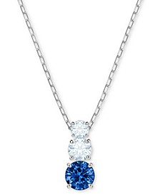 "Silver-Tone Triple-Crystal Pendant Necklace, 14-4/5"" + 2"" extender"