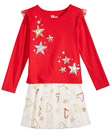 Epic Threads Little Girls Star-Print T-Shirt & Reversible Skirt, Created for Macy's
