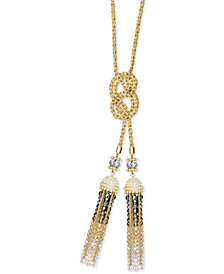 "Swarovski Millennium Tri-Tone Crystal & Bead 29-1/2"" Knotted Necklace"
