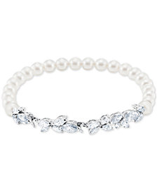 Swarovski Silver-Tone Crystal & Imitation Pearl Flex Bracelet