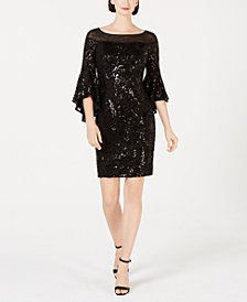 Calvin Klein Sequin Bell-Sleeve Sheath Dress