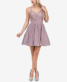 Dancing Queen Juniors' Embellished Appliqué Fit & Flare Dress