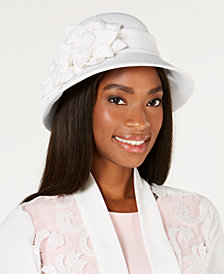 August Hats Flower-Accent Textured Cloche