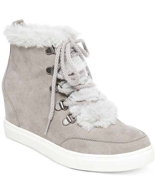 f9e4caa6fb3 Madden Girl Pulley Faux-Fur Wedge Sneakers   Reviews - Athletic ...