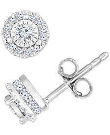 TruMiracle™ Diamond Halo Stud Earrings (1/2 ct. t.w.) in 14k White Gold