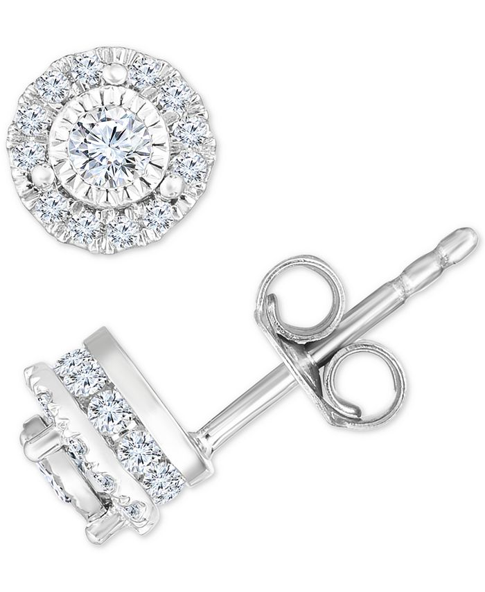 TruMiracle - ® Diamond Halo Stud Earrings (1/2 to 3/4 ct. t.w.) in 14k White Gold
