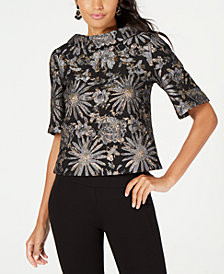 Trina Turk Shawl-Neck Metallic Jacquard Top