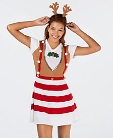 Planet Gold Juniors' Reindeer Sweater Dress & Headband