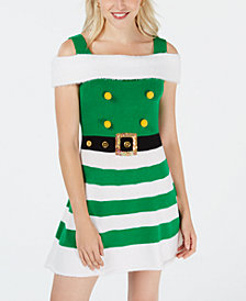 Planet Gold Juniors' Cold-Shoulder Elf Dress