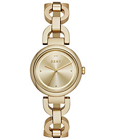 DKNY Women's Eastside Gold-Tone Stainless Steel Chain Bracelet Watch 30mm, Created for Macy's