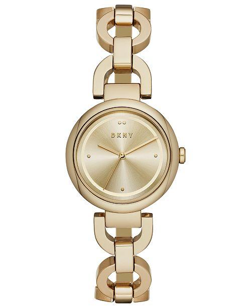 DKNY Women's Eastside Gold-Tone Stainless Steel Chain Bracelet Watch 30mm, Created for Macy's