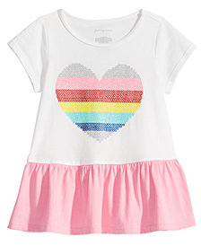 First Impressions Toddler Girls Heart-Print Cotton Peplum Tunic, Created for Macy's