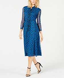 Anne Klein Printed Button-Front Dress