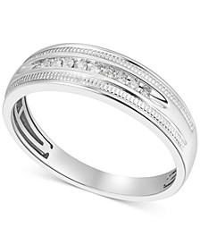 Men's Diamond Wedding Band (1/10 ct. t.w.) in 10k White Gold