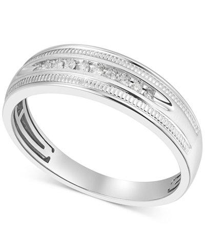 Men's Diamond Wedding Band (1/10 ct. t.w.) in 10k White Gold