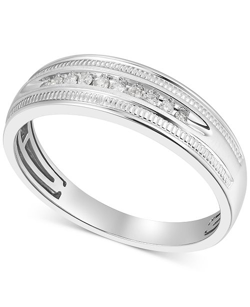 Macy's Men's Diamond Wedding Band (1/10 ct. t.w.) in 10k White Gold