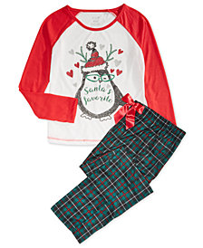 Max & Olivia Big Girls 2-Pc. Santa's Favorite Pajamas Set, Created for Macy's