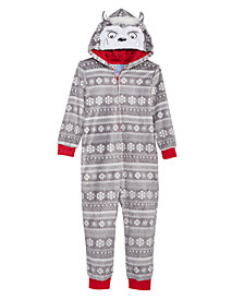 Max & Olivia Little & Big Boys Fair Isle Yeti Hooded Onesie, Created for Macy's