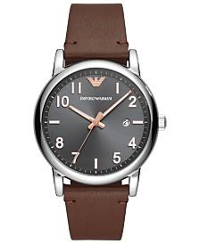 Emporio Armani Men's Brown Leather Strap Watch 43mm