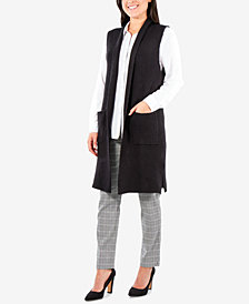 NY Collection Collared Sweater Vest Duster