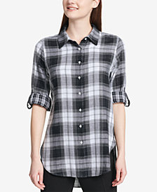 Calvin Klein Plaid High-Low Shirt