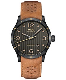 Men's Swiss Automatic Multifort Brown Leather Strap Watch 42mm