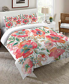 Laural Home Bohemian Poppies  King Comforter