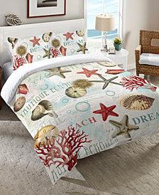 Laural Home Dream Beach Shells  Queen Comforter