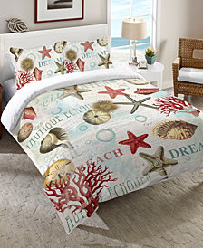 Laural Home Dream Beach Shells  King Comforter