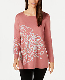 Alfani Petite Metallic Graphic Sweater, Created for Macy's