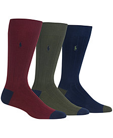 Polo Ralph Lauren Men's Socks, Soft Touch Ribbed Heel Toe 3 Pack