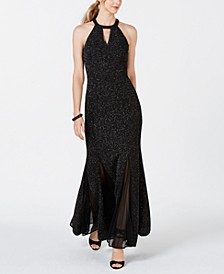 Glitter-Knit Teardrop Gown