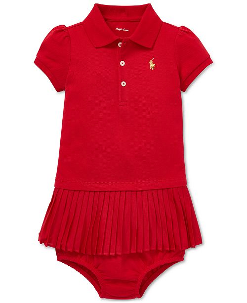 21f06fb9d Polo Ralph Lauren Baby Girls Pleated Polo Dress & Reviews - Dresses ...