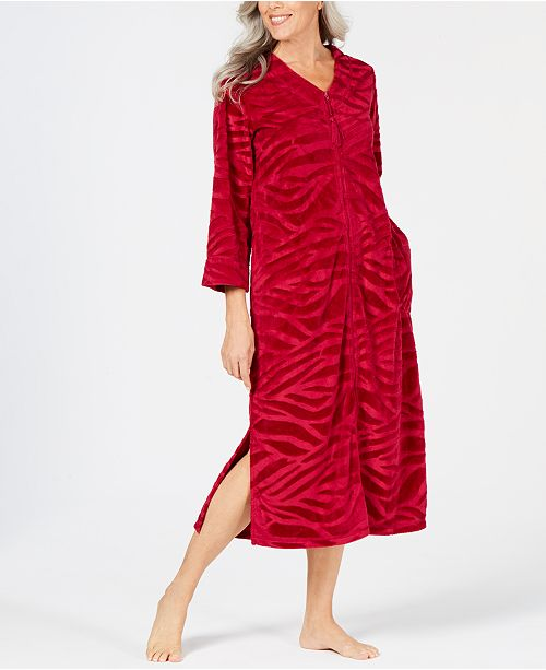 566bbac028 Miss Elaine Micro-Embossed Velour Long Zip Robe - Bras