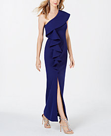 Vince Camuto Ruffled One-Shoulder Gown