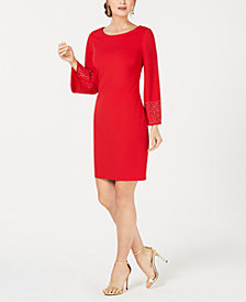 Jessica Howard Petite Embellished-Sleeve A-Line Dress